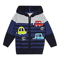 bluezoo - Boy's navy striped applique cars hoodie