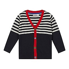 bluezoo - Boy's grey striped yoke cardigan