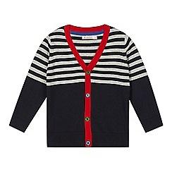 bluezoo - Boy's grey striped yoke cardigan