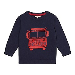 bluezoo - Boy's navy fire engine applique jumper