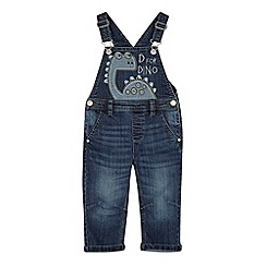 bluezoo - Boy's blue dinosaur applique dungarees