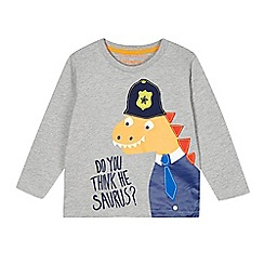 bluezoo - Boy's grey dinosaur officer printed top