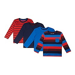 bluezoo - Pack of four boy's red striped long sleeved t-shirts