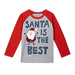 bluezoo - Boys' grey 'Santa is the best' raglan top