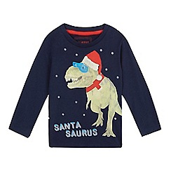 bluezoo - Baby boys' blue long sleeved 'Santasaurus' t-shirt