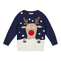 bluezoo - Boys' grey Christmas reindeer knitted jumper