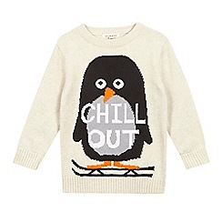 bluezoo - Girls' cream penguin knitted jumper