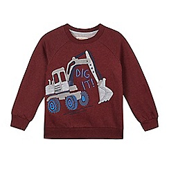 bluezoo - Boy's dark red digger applique sweatshirt