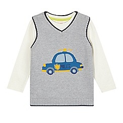 bluezoo - Boy's grey knitted sleeveless jumper and long sleeved top