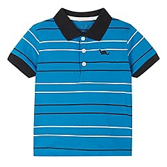 bluezoo - Boy's blue striped textured collar polo shirt