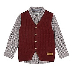 J by Jasper Conran - Designer boy's red cable knit cardigan and shirt