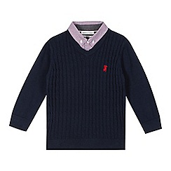 J by Jasper Conran - Designer boy's navy mock 2-in-1 shirt and jumper
