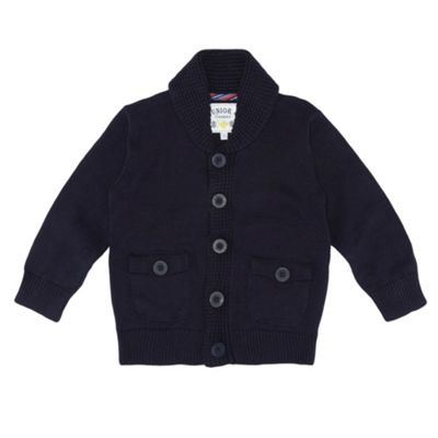 Boys Navy Shawl Collar Knitted Jumper