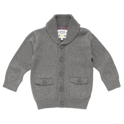 Boys Grey Shawl Collar Cardigan