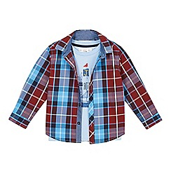 J by Jasper Conran - Designer boy's blue checked shirt and boat print t-shirt set