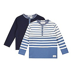 J by Jasper Conran - Pack of two boy's designer navy and blue striped grandad tops