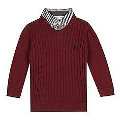 J by Jasper Conran - Boys' red wine mock shirt jumper