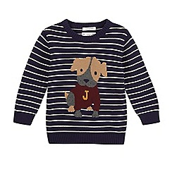 J by Jasper Conran - Boy's navy striped dog jumper