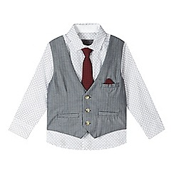 RJR.John Rocha - Designer boy's white shirt, red tie and black waistcoat set