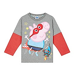 Peppa Pig - Boy's grey 'Peppa Pig' layered sleeve top