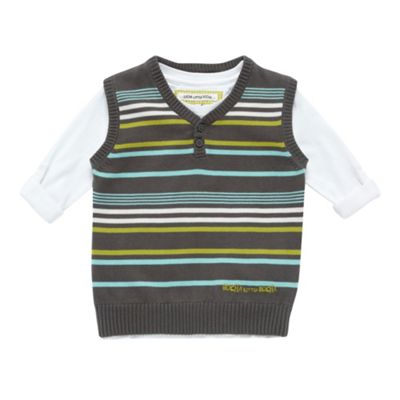 Boys Grey Multi Stripe Tank Jumper And T-shirt