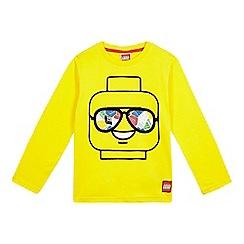LEGO - Boys' yellow 'Lego Head' printed top