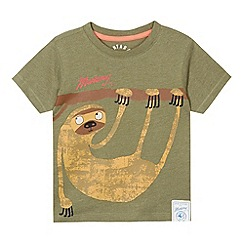 Mantaray - Boy's khaki sloth printed t-shirt