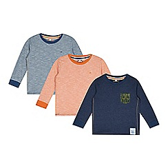 Mantaray - Pack of three boy's navy striped and plain tops