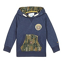 Mantaray - Boys' navy camouflage pocket hoodie