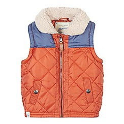 Mantaray - Boy's orange quilted fleece collar gilet