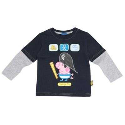 Boys Navy George The Pig Pirate Top