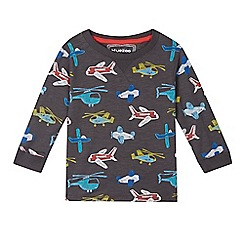 bluezoo - Boys' dark grey helicopter and plane print top