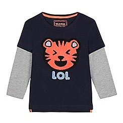 bluezoo - Boys' navy mock sleeved 'D for Dino' top