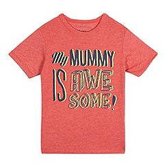 bluezoo - Boys' red 'Mummy is awesome' print t-shirt