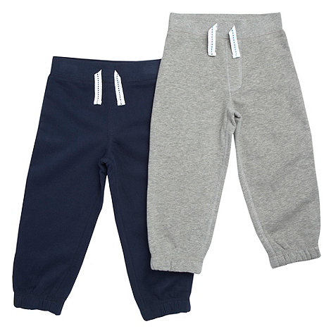bluezoo - Boy+s pack of two navy and grey jogging bottoms