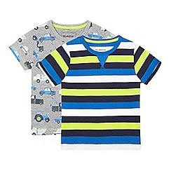 bluezoo - Pack of two boys' assorted vehicle and striped t-shirts