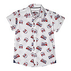 bluezoo - Boys' white fire engine print shirt