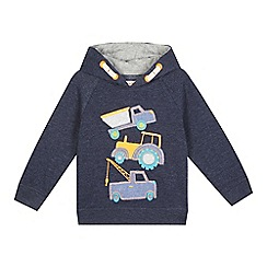 bluezoo - Boys' navy 'transport' print hooded sweater