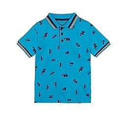 bluezoo - Boys' blue transport print polo top