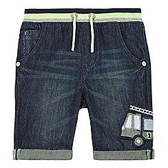 bluezoo - Boys' blue appliqu  truck chambray shorts