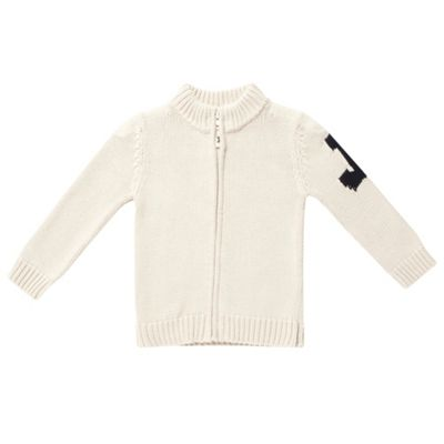 Boys Cream Knit Zip Front Cardigan
