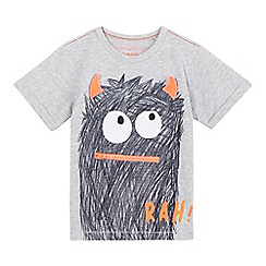 bluezoo - Boys' grey 'Rah' zip monster print t-shirt