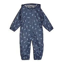 bluezoo - Boys' navy transport print waterproof puddle suit