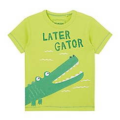 bluezoo - Boys' lime alligator applique t-shirt