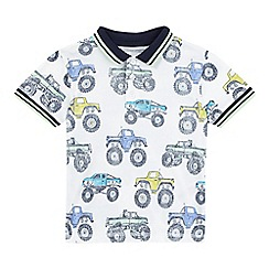 bluezoo - Boys' white monster truck print polo shirt
