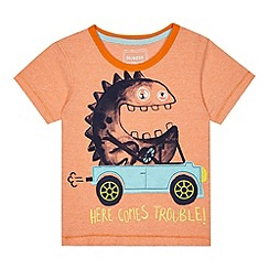bluezoo - Boys' orange textured stripe monster in car applique t-shirt
