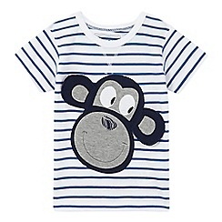 bluezoo - Boys' white striped print monkey applique t-shirt