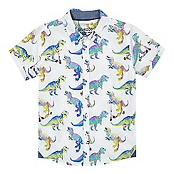 bluezoo - Boys' white dinosaur scooter print shirt