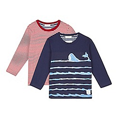 J by Jasper Conran - Pack of two boys' navy whale and red striped tops