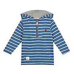 J by Jasper Conran - Boys' blue striped hooded zip neck sweat top
